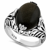 Sterling Silver Timeless Gold Obsidian Gemstone Ring