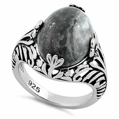 Sterling Silver Timeless Grey Crazy Lace Agate Gemstone Ring