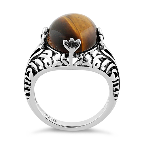 rings goods ring shape p oval tone silver gemstone tiger eye