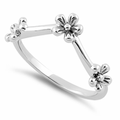 Sterling Silver Tri Flower Ring