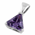 Sterling Silver Triangle Amethyst Pendant