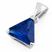 Sterling Silver Triangle Blue Sapphire CZ Pendant