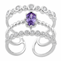 Sterling Silver Triple Amethyst CZ Ring