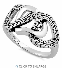 Sterling Silver Triple Chained Heart Ring
