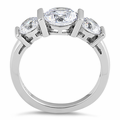 Sterling Silver Triple Clear CZ Ring