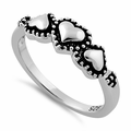 Sterling Silver Triple Heart Ring