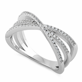 Sterling Silver Triple Overlapping Cage CZ Ring