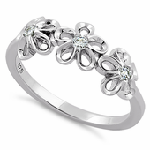 Sterling Silver Triple Plumeria CZ ring