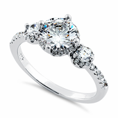 Sterling Silver Triple Round CZ Ring