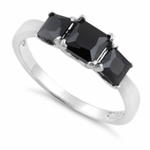 Sterling Silver Triple Square Black CZ Ring