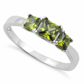 Sterling Silver Triple Square Peridot CZ Ring