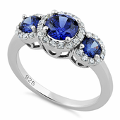 Sterling Silver Triple Tanzanite Round CZ Ring