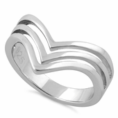 Sterling Silver Triple V Ring