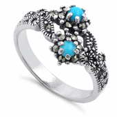 Sterling Silver Synthetic Turquoise Double Flower Marcasite Ring