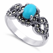 Sterling Silver Oval Synthetic Turquoise Flower Hearts Marcasite Ring