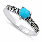 Sterling Silver Synthetic Turquoise Heart Marcasite Ring