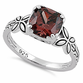 Sterling Silver Twin Butterfly Cushion Cut Brown CZ Ring
