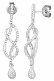 Sterling Silver Twisted Drop CZ Dangle Earrings