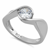 Sterling Silver Twisted Round Clear CZ Ring