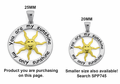 Sterling Silver Two Tone 25mm You Are My Sunshine Pendant