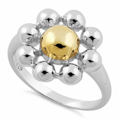 Sterling Silver Two Tone Flower Round Ring