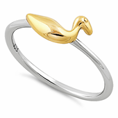 Sterling Silver Two Tone Gold Plated Duck Ring