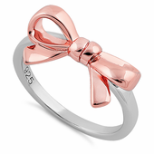 Sterling Silver Two Tone Rose Gold Plated Bow Ring