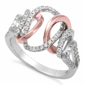 Sterling Silver Two-Tone Rose Gold Plated Exotic CZ Ring