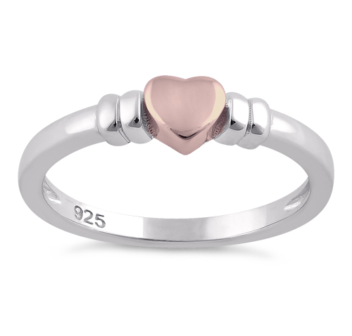 Silver Two Tone Rose Gold Plated Heart Ring