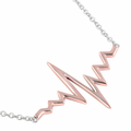 Sterling Silver Two-Tone Rose Gold Plated Heartbeat Necklace