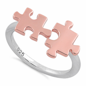 Sterling Silver Two Tone Rose Gold Plated Jigsaw Puzzle Pieces Ring