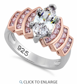 Sterling Silver Two Tone Rose Gold Marquise Engagement Clear & Pink CZ Ring