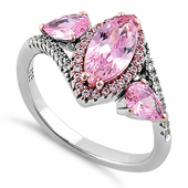 Sterling Silver Two-Tone Rose Gold Plated Marquise & Pear Cut Pink CZ Ring