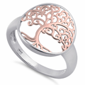 Sterling Silver Two Tone Rose Gold Plated Tree of Life Ring