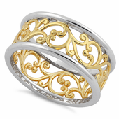 Sterling Silver Two Tone Yellow Gold Plated Vines Band Ring