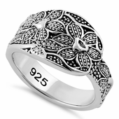 Sterling Silver Unique Flowers Ring