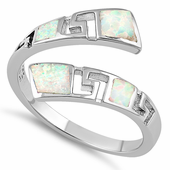 Sterling Silver Unique Pattern White Lab Opal Ring