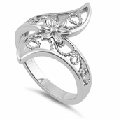 Sterling Silver Unqiue Flower and Vines Ring