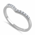 Sterling Silver V Shape CZ Ring