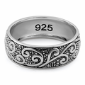 Sterling Silver Vines Band Ring