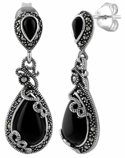 Sterling Silver Vines Tear Drop Black Onyx Marcasite Earrings