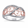 Sterling Silver Vines Two-tone Rose Gold Plated CZ Ring