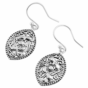 Sterling Silver Vintage Curve Pattern Maqruise Hook Earrings