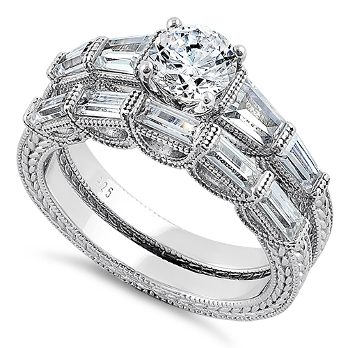 Sterling Silver Vintage Round Baguette Cut Clear Cz Engagement Ring Set