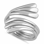 Sterling Silver Wavy Lines Ring