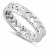 Sterling Silver Weave Pattern Band Ring