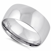 Sterling Silver Wedding Band 8mm