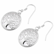 Sterling Silver Whimsic Tree of Life Hook Earrings