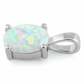 Sterling Silver White Lab Opal Oval Pendant