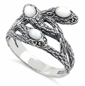 Sterling Silver Mother of Pearl Snakes Marcasite Ring